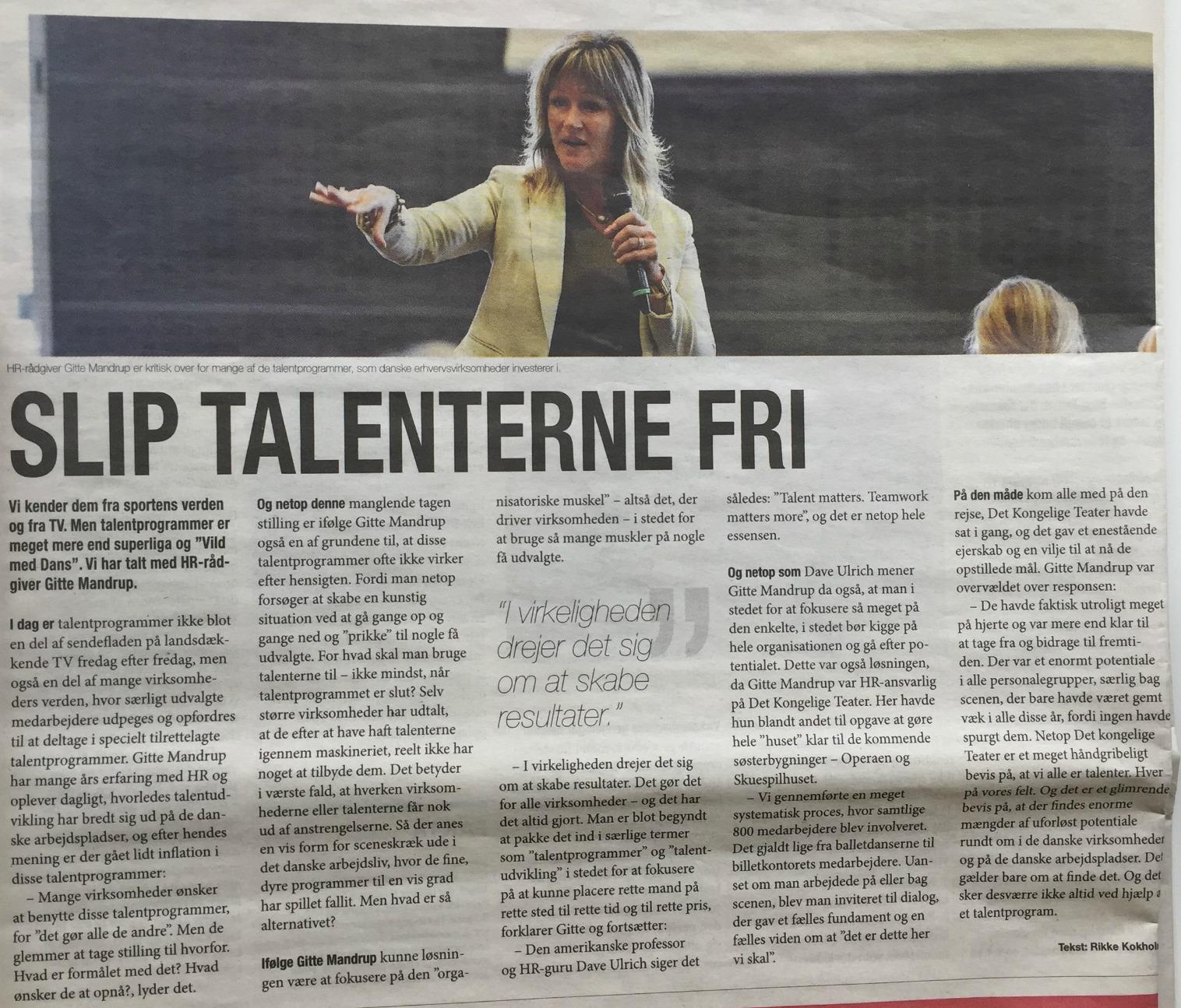Talentprogram Slip talenterne fri Berlingske 22 okt 2015 @ Gitte Mandrup
