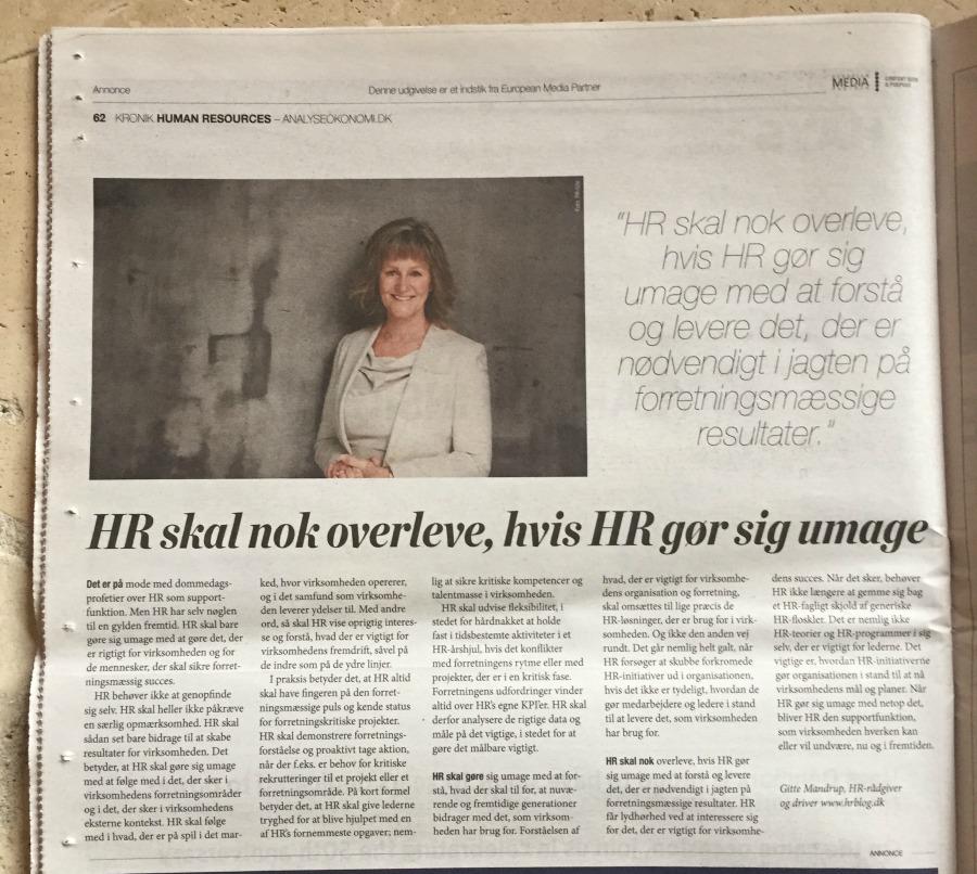 Artikel i Børsen om HR i Fremtiden - Gitte Mandrup